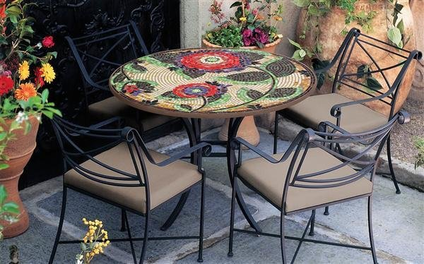 dahlia knf mosaic outdoor table