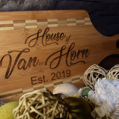 Bamboo Paddle Shaped Cutting Board with Butcher Block Inlay