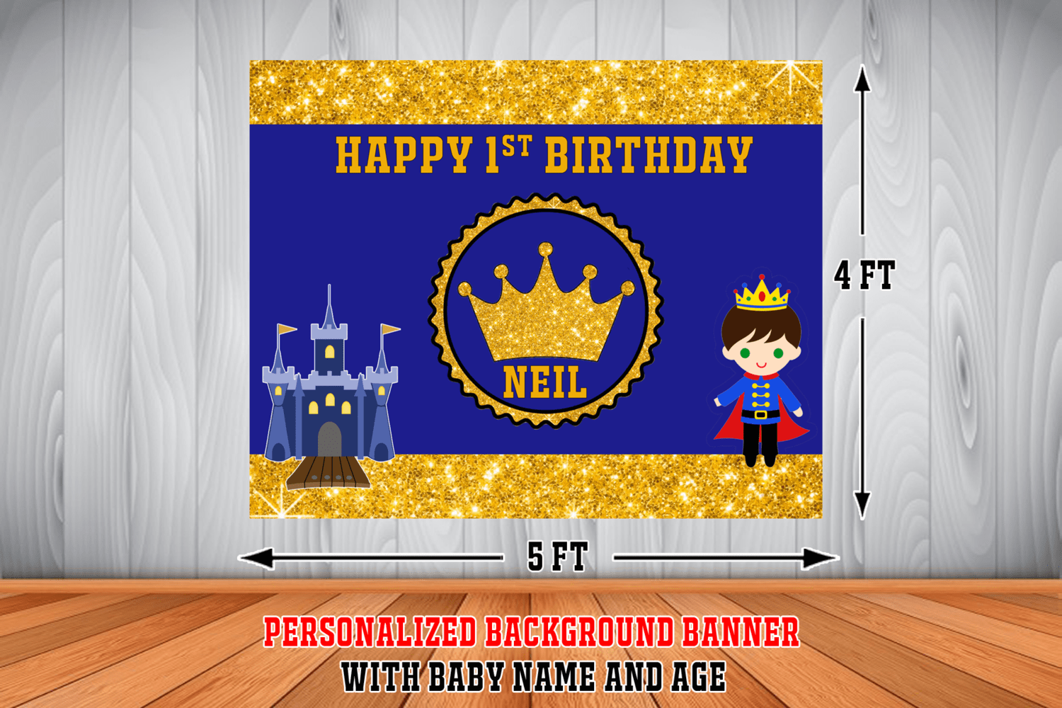 personalized royal prince birthday background banner 2 4ft x 5ft