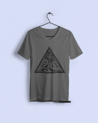 TShirt: Owl Woodcut Design. Hand-printed.