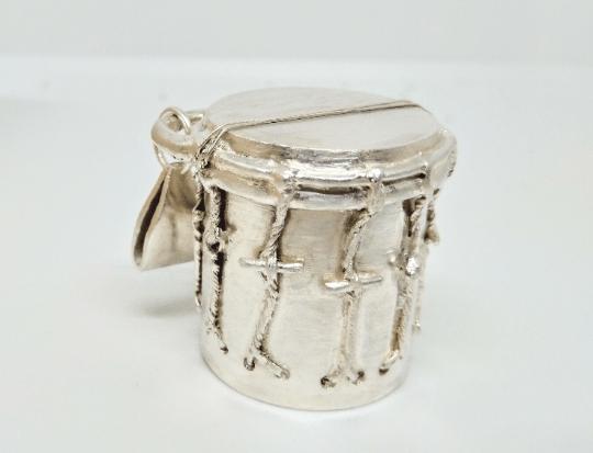 Hand-crafted Silver Garifuna Drum pendant