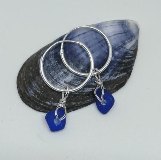 Belizean Beach Silver Sea Glass Earrings