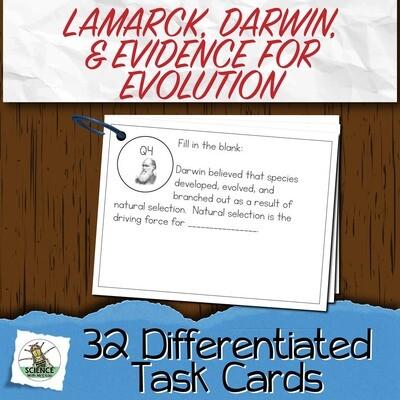 Lamarck, Darwin, and Evidence Task Cards