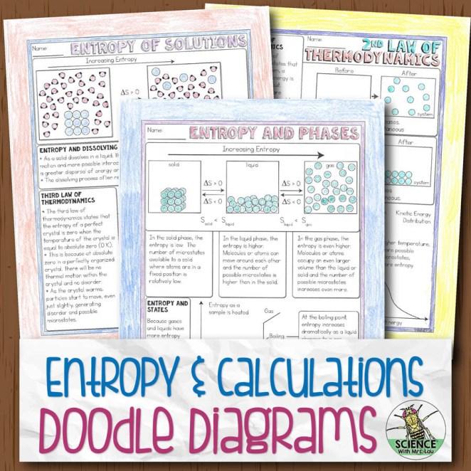 Entropy and Entropy Calculations Doodle Diagram Notes