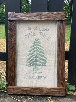 Rustic Wall Decor, Barn wood frame, Rustic Sign, Grain Sack