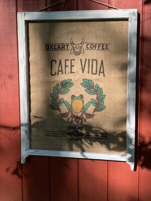 Rustic Wall Art, Burlap Coffee Sack, Vintage Window