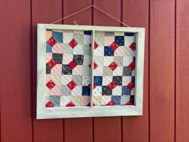 Vintage Wall Art, Vintage Quilt, Window Frame