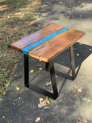 Resin River Table, Live Edge Wood Table, Industrial Table