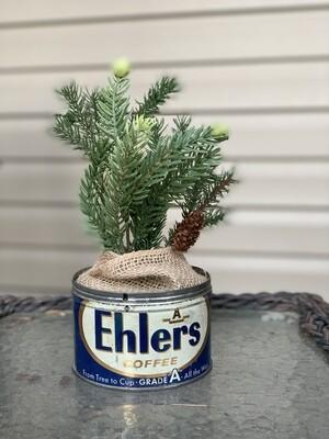 Vintage Christmas, Vintage Coffee Tin, Holiday Centerpiece