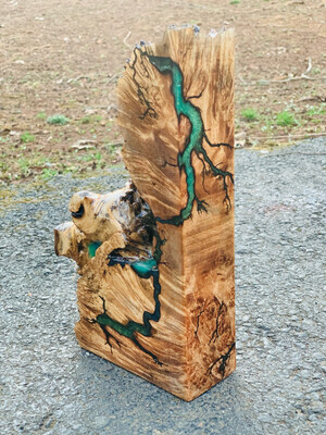 Rustic Bookend, Mantle Art, Maple Live Edge Wood