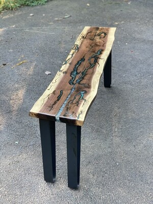 Rustic Coffee Table, Narrow Coffee Table, Live Edge Wood