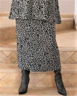 Shana - Leopard Print Jersey Jacquard Skirt