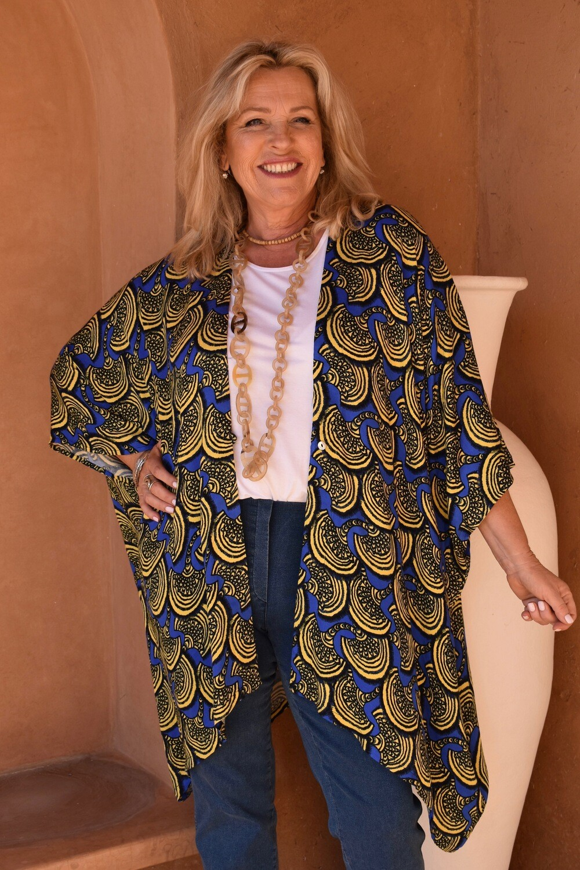 KASBAH Keyah - Vibrant Fan print Loose fit Jacket - one size