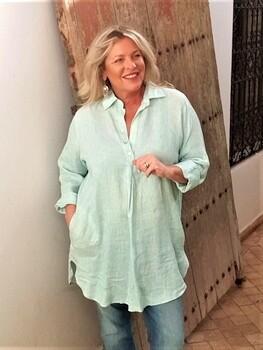KASBAH Takoma - Duck Egg Blue Print Linen Tunic