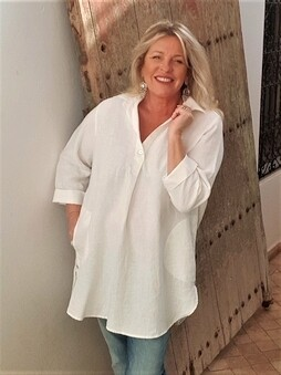 KASBAH Takoma - Ecru Linen Turn Back Sleeve Tunic