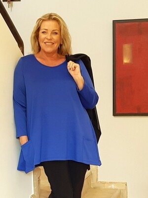 KASBAH Toya 2 - Royal Blue Round Neck Jersey Top