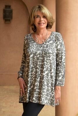 Kasbah Tapanga - Leopard Print Jersey Top - Soft Grey