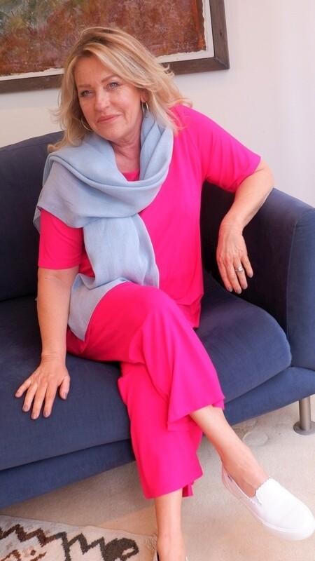 KASBAH Tessa - Short Sleeve Jersey Top - Fuchsia