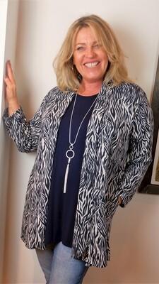 KASBAH Verona - Print Knitted Jacket - Navy
