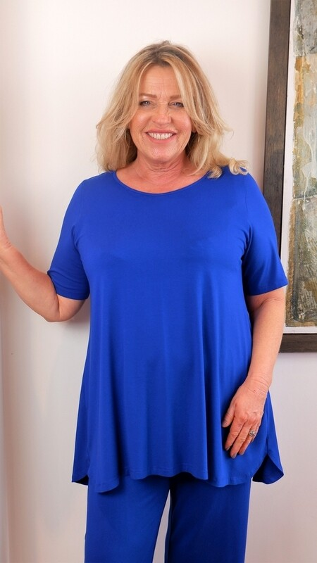 KASBAH Tessa - Short Sleeve Jersey Top - Cobalt