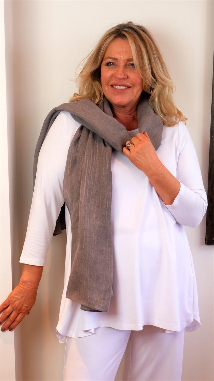 KASBAH Tessina - White Jersey 3/4 sleeve T-Shirt