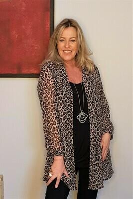 KASBAH Teresina - Leopard print A-Line blouse.