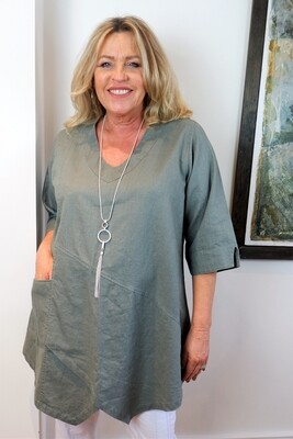 Kasbah Tessie - Sage Asymmetric Linen Tunic Top