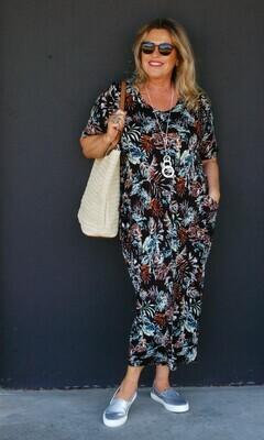 KASBAH Rebecca - Printed Jersey Tulip Cut Dress