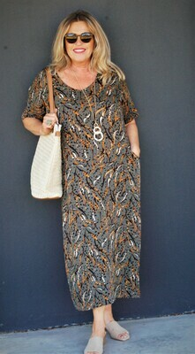 KASBAH Rochelle - Abstract Print Rounded V neck dress