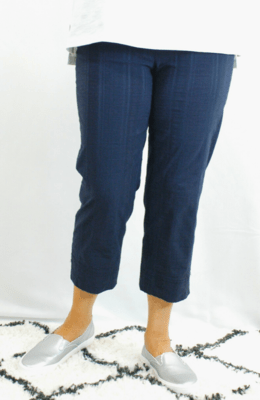 Robell Marie - Crop Trousers Navy Seersucker