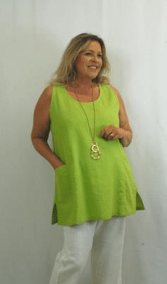 Kasbah - Tonia Linen Sleeveless Tunic - Lime