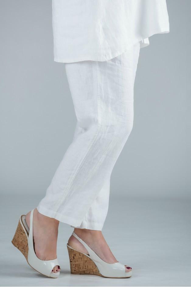 Pamela - White linen trousers straight leg - short or medium length