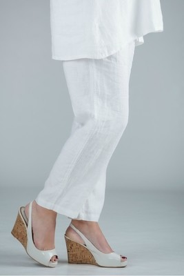 Pamela - White linen trousers straight leg - short or medium length
