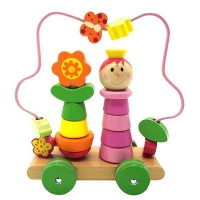 Развивающий Лабиринт-пирамидка Девочка на колесиках дерево Mapacha 76729