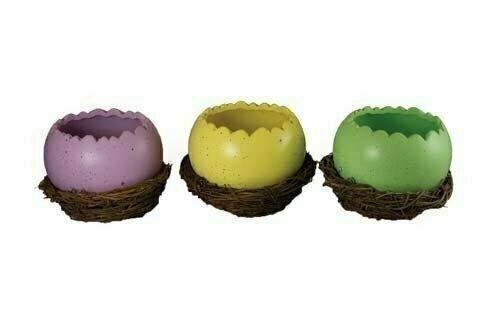 CP1538ASST - 3 Assorted Color Ceramic Egg In Nest 6