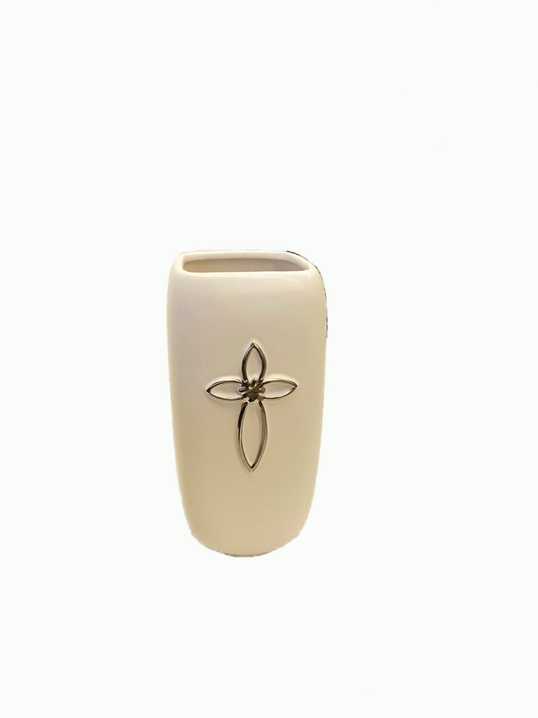 """CPX2015 - 8.25"""" tall Ivory cermaic vase with silver cross $5.95 ea Case Pk: 12"""