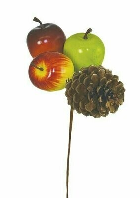 PPX2005 - Assorted colored apples and pine cone pick (1 dozen box)