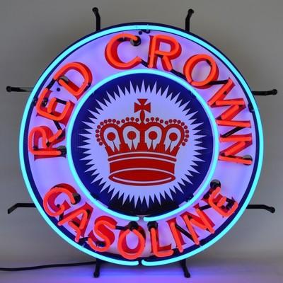Red Crown Gasoline Gas Neon Light