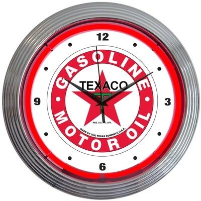 Texaco Gasoline Motor Oil Neon Clock