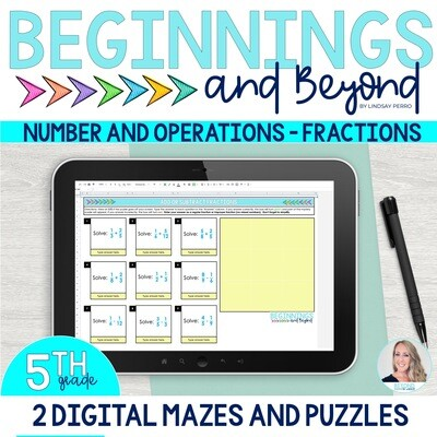 5th Grade Number and Operations - Fractions Digital Maze and Puzzle