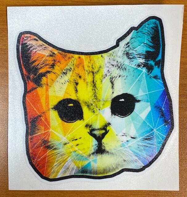 Rainbow Geo Cat Sticker