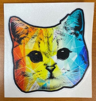 Rainbow Geo Cat Sticker