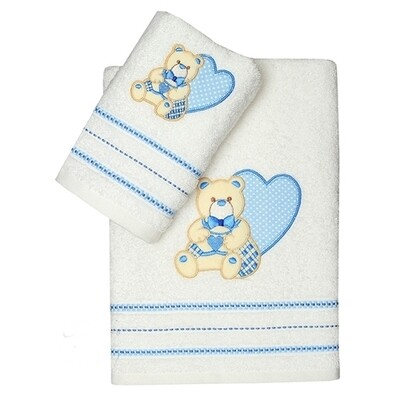 Σετ Πετσέτες 2 τεμ. Heart White-Blue
