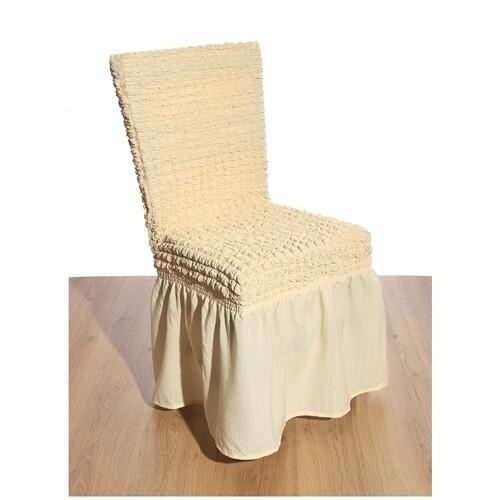Κάλυμμα Καρέκλας Γκοφρέ Ελαστικό Ecrou