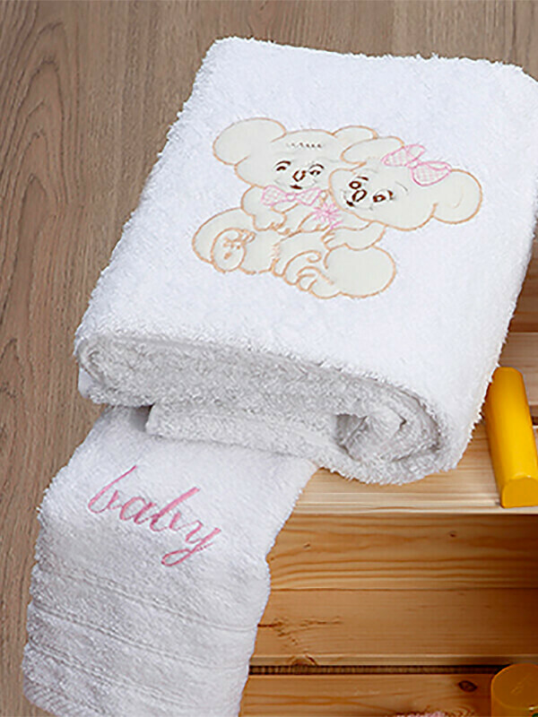Σετ Πετσέτες 2 τεμ. Couple White-Pink