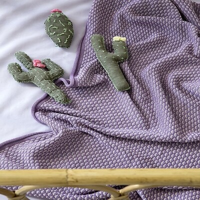Κουβέρτα Λίκνου Wool Πλεχτή Twine Lilac - Nima Home