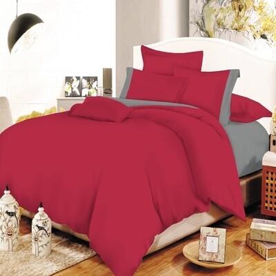 Παπλωματοθήκη Υπέρδιπλη Cotton Line Red - Gray - Komvos