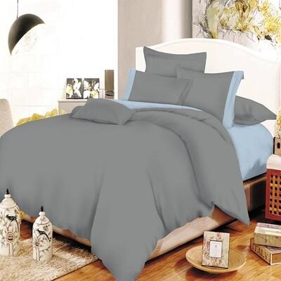 Παπλωματοθήκη Υπέρδιπλη Cotton Line Gray - Baby Blue - Komvos