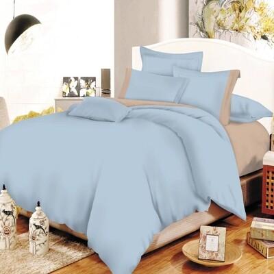 Παπλωματοθήκη Μονή Cotton Line Baby Blue - Beige - Komvos