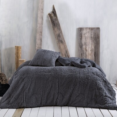 Κουβερτοπάπλωμα Μονό Waterfall Dark Gray Flannel-Sherpa - Rythmos
